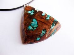 Exotic wood burl and turquoise inlay necklace / wych elm burl pendant, wood , abstract pendant, art, leather cord, modernist