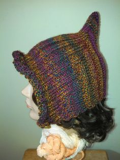 Hand Knit Autumn Pixie Hood by MadMadameHatter on Etsy