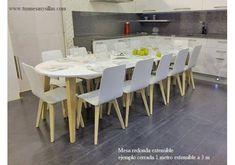 Mesa redonda extensible Adana hasta 3 metros estilo nordico Dining Table, Furniture, Home Decor, Arquitetura, Model, Luxury Dining Room, Kitchen Tables, Wood Tables, Small Kitchens