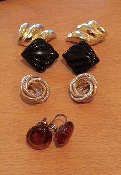 Vintage clip on earring, lot of 4, gold tone, black tone, metal & plastic. Class