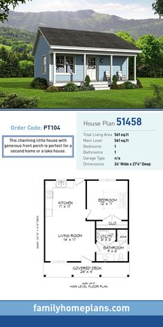 Tiny House Plan 51458 Total Living Area 561 SQ FT 1 bedroom and 1 bathroom This charming little house with generous front porch is perfect for a second home or a lake ho. Family House Plans, Tiny House Plans, 1 Bedroom House Plans, Tiny Home Floor Plans, Tiny Cabin Plans, Small Cottage Plans, Little House Plans, Guest House Plans, Small House Plans Under 1000 Sq Ft