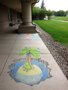 Got lucky enough to find a desert paradise (barely) out of the rain . . . there's something fishy about it, though. Sluggo finally found a good, if fishy, spot for his vacation. Rochester Hills, Michigan (July 23, 2013) - street art by David Zinn
