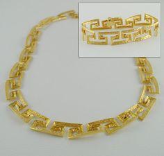 Beautiful Greek Key/ Meander Necklace and Bracelet Set - Solid 18K Gold