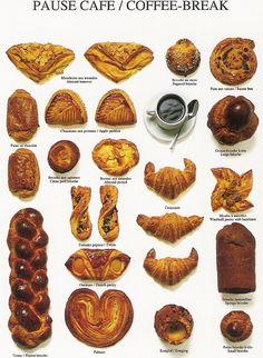 BREAKFAST ~ LE PETIT DEJEUNER~ Coffee and a sweet breakfast pastry.