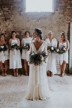 Bohemian wedding ideas: relaxed neutral bouquets, boho wedding dress with neutral bridesmaid dresses. Perfect Wedding, Dream Wedding, Wedding Day, Wedding Reception, Rustic Wedding, Budget Wedding, Viking Wedding, All White Wedding, Wedding Wishes