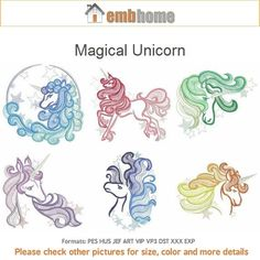 Magical Unicorn Baby Quilt Machine Embroidery Designs Instant Download 4x4 5x5 6x6 hoop 10 designs APE1791