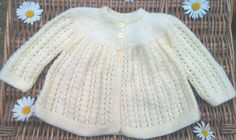 Baby's traditional yellow lacy matinee jacket by bebbyjumpers, £16.00