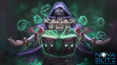 Necronomiconimist card art by Fredrick Runtu for the Nova Blitz trading card game. Play the demo at NovaBlitz.com/demo!