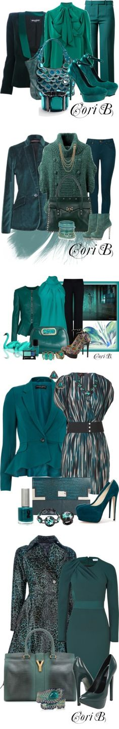 """""""Teal Collection"""" by cori-black on Polyvore"""