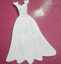 Free Wedding Dress Shaped Gift Card to Download in GSD SVG KNK and MTC formats This is much prettier in real life then the photo I took. I lovely elegant shape that I cut out using white Bazzill linen textured card stock.