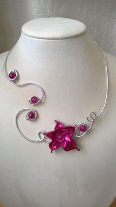 Wedding necklace, Prom necklace, LesBijouxLibellule, Open collar necklace, Wire necklace, Purple necklace, Fuchsia necklace, Flower necklace Prom Necklaces, Prom Jewelry, Unique Necklaces, Bridesmaid Jewelry, Wedding Jewelry, Jewelry Necklaces, Purple Necklace, Wire Necklace, Flower Necklace