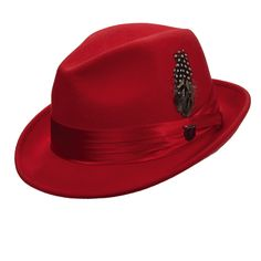 """Crushable wool felt snap brim fedora. Shapeable, 2"""" wide brim. Three-pleat silk tie with feather and pin. Center dent in crown, pinched front. Satin lined. Adjustable drawstring in satin sweatband. Pa"""