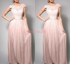 Wholesale 2014 New Bridemaid Dress - Buy 2014 Bridesmaid Dresses Hot Sale Custom Made A-line Crew Floor Length Cap Sleeves Lace Chiffon New Formal Dresses Elegant B954, $95.28 | DHgate