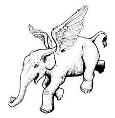 Flying Elephant, Inktober, Moose Art, Animals, Animaux, Animales, Animal, Dieren