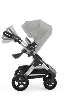 Stokke® Trailz™ with Stokke® Stroller Seat, Grey Melange. Features an angle-adjustable handlebar & All Terrain tires