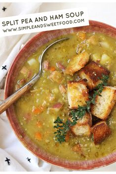 Split Pea and Ham Soup is like a hug in a bowl. Hearty and full of flavor, this soup will become a family favorite no matter the season. Easy Split Pea Soup, Green Split Pea Soup, Split Pea Soup Recipe, Easy Soup Recipes, Dinner Recipes, Crockpot Recipes, Pea And Ham Soup, Leftover Ham Recipes, Crock Pot Soup