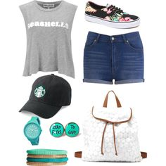 Hawaii by jirinkaskalkova on Polyvore featuring polyvore fashion style Wildfox Cheap Monday Vans Charlotte Russe Rip Curl H&M