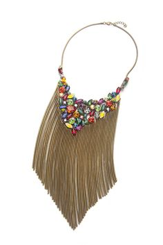 Frangos fringed bib necklace for a night out