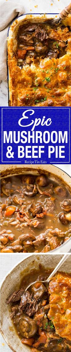 An EPIC Chunky Beef and Mushroom Pie. Prepare to swoon! www.recipetineats.com