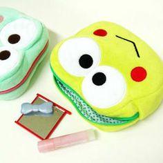 日本 sanrio keroppi 大眼青蛙仔 毛絨 大頭公仔樣 收納包-淘宝网