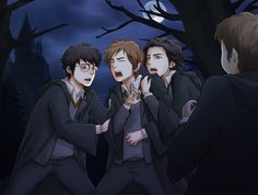 Saw this and thought it was sweet. The Marauders as kids helping Lupin on a full moon.