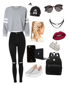 """""""First Day of School"""" by pavneetbhullar ❤ liked on Polyvore featuring Topshop, Kate Spade, adidas, Illesteva, Garrard and Huda Beauty"""