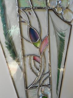 Abstract Art With Feathers. Unique Stained Glass Panel.