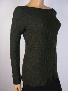 5e711a0abd9 Ann Taylor Loft Dark Green Cable Knit Wool Rabbit Hair Sweater M 8 10 NEW  A892