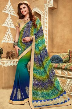 Blue And Green Color Bandhani Style Party Wear Saree With Jacquard And Brocade Unstitched Designer Blouse
