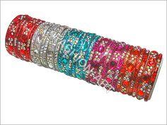 Stone Studded Glass Bangle Set