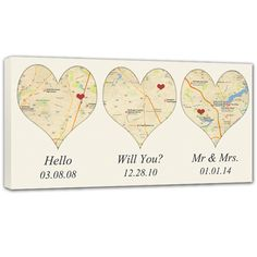 """Heart Shaped Map Art, Three map locations, Where you Met, Got Engaged, Said I do! With just the address of YOUR """"special"""" locations, we will create a one of a kind Custom Map Canvas for you. Using any wording over your custom canvas map art and a HEART to mark your location."""