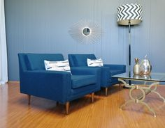 Pair of Royal Blue Mid Century Armchairs - Gold Label Vintage