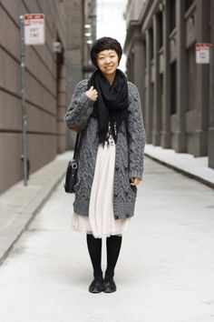 Discover this look wearing Chunky Knit Zara Sweaters, Flowy H&M Skirts - Transition to fall with sweater by helenz styled for Casual, Everyday in the Fall Knit Fashion, Sweater Fashion, Fashion Outfits, Winter Style, Autumn Winter Fashion, Fall Winter, Dress With Cardigan, Grey Cardigan, Sweater Coats