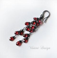 Cascade oorbellen romantische lange Gemstone Earrings Garnet