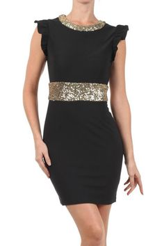 Marvelous Tonight Flutter Sleeve Sequin Dress - Black + Gold - $60.00 | Daily Chic Dresses | International Shipping