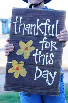 thankful for this day reclaimed wood sign by SlightImperfections, $35.00