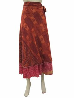 Amazon.com: Womens Skirt Two Layer Maroon Rust Sari Wrapskirts Sarong Maxi Dress: Clothing