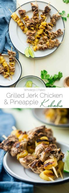 Whole30 Pineapple Jerk Chicken Kebabs - This easy jerk chicken recipe uses pineapple juice instead of sugar so it's Whole30 compliant and paleo friendly! It's a simple, flavorful weeknight meal that's perfect for the summer! | http://Foodfaithfitness.com | /FoodFaithFit/