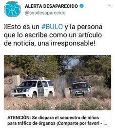 """El bulo de """"se dispara el secuestro de niños en España para tráfico de órganos""""             La web sosdesaparecidos.es ha publ..."""