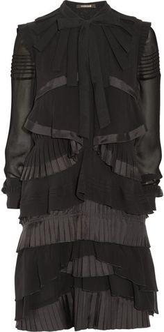 Pleated-tier Silk-chiffon Dress - Lyst
