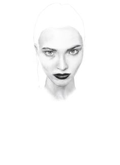 Pencil drawing Illustration. Portrait of Sasha Luss by Sophie Hay - Westminster Fashion