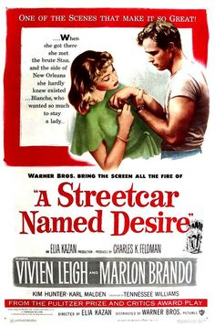 """A Streetcar Named Desire"" (1951) / Director: Elia Kazan / Writers: Tennessee Williams (screen play), Oscar Saul (adaptation) / Stars: Vivien Leigh, Marlon Brando, Kim Hunter #poster"