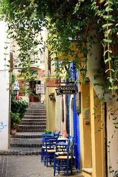 Sidewalk Cafe in Chania - Crete, Greece