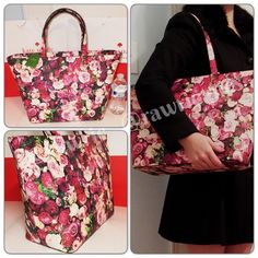 """1 HOUR SALE New Kate Spade floral roses large tote 100% authentic. Multiple roses print with 14-karat light gold plated hardware. Inside zip and slip pockets. Zip top closure and fabric lining. Handles drop 9"""". Measures 19""""top/13""""bottom x 11"""" (H) x 6"""" (W). Brand new with tags. Comes from a pet and smoke free home. kate spade Bags Totes"""