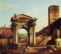 Capriccio romano con Porta Civica e mura turrite, dipinto autografo di Bernardo Bellotto, olio su tela nel 1742-47, Galleria Nazionale di Parma.