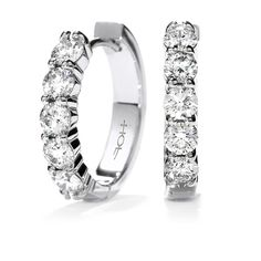 You'll want to wear these mini hoops every day! It comes ten claw set round brilliant cut diamonds total weight 0.94ct.--- wedding gift from groom morning of wedding!