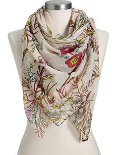 Women's Floral-Gauze Scarves | Old Navy- I live in scarves, and this cheerful print will be added to my collection.