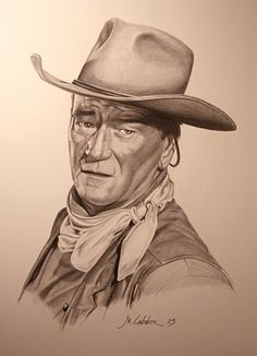 Pencil Drawings John Wayne by Michael Cavender - I loved watching John Wayne cowboy movies as a child. I was 13 when he died. Pencil Art, Pencil Drawings, Art Drawings, Pencil Sketching, Drawing Faces, Realistic Drawings, Portrait Au Crayon, Pencil Portrait, John Wayne Quotes