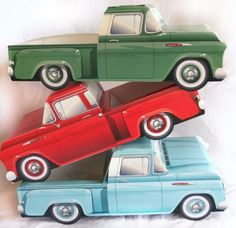 ADORABLE set of 6 vintage Chevrolet pick up trucks food boxes-GREEN ONLY cardboard paper boxes with space for food-approximately tall for each Set of 6 boxes only Please check my shop for wax food paper liners for these available in many patterns and Classic Chevy Trucks, Classic Cars, Carros Vintage, Vintage Car Party, Pink Lemonade Party, Cars Birthday Parties, Car Birthday, Birthday Ideas, Car Themes