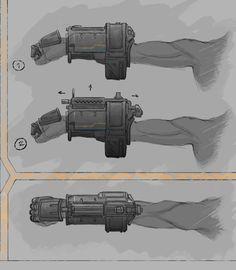 Wrist Gun Concept by AShipOfFools on DeviantArt Sci Fi Armor, Sci Fi Weapons, Armor Concept, Weapon Concept Art, Fantasy Weapons, Weapons Guns, Armes Futures, St Just, Arte Robot
